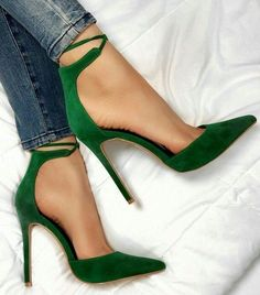 green suede pumps with ankle wrap detail, green pointy toe shoes, (scheduled via http://www.tailwindapp.com?utm_source=pinterest&utm_medium=twpin)