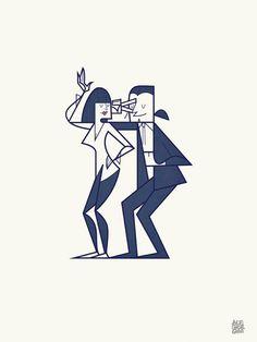 Pulp Fiction   fan art   Mia & Vincent dancing in the Twist contest by Ale Giorgini
