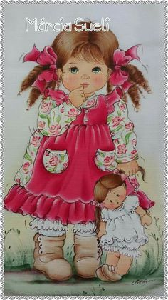 Cute little girl pieces) Cute Little Girls, Cute Kids, Baby Clip Art, Holly Hobbie, Digi Stamps, Whimsical Art, Painting For Kids, Doll Face, Applique Designs