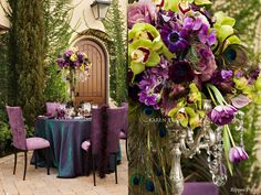 Peacock inspired wedding with deep purple, teal and chartreuse green