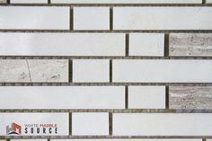 Polished Bianco Sivec Extra & Woodengrey Random Strip Mosaic (THW-016)  www.whitemarblesource.com #WhiteMarbleSource #white #marble #mosaics #tiles #stone #naturalstone #interiorfinishes #interiordesign #art #architecture #design #projects #ideas #luxury #materials #biancosivec #backsplash #whitetiles #inspirational