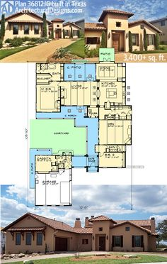 Architectural Designs House Plan 36812JG built in Texas.  3 beds, 3.5 baths and over 3,400 square feet of living with a courtyard and casita.  Ready when you are. Where do YOU want to build?
