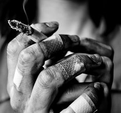 smoking black and white photography