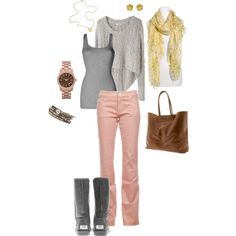 pink and grey outfit-minus the scarf and bag-cute