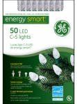"$15.58-$16.99 GE, 50 Count, Warm White, Watt Miser LED C5 Crystal Ice Light Set, 6"" Lead Wire, 4"" Lamp Spacing, 6"" End Connector Plug, 16.3' Lighted Length, 17.3' Total Set Length, Green Cord Set With Fused Plug, Color Box Window With PVC Window."