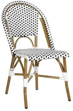 The Beloved European Bistro Chair Assumes A Coastal Cottage Vibe In The  Blue And White Hooper Indoor Outdoor Stacking Armchair By Safavieh |  Awesome ...