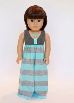 American girl doll Salina maxi dress - Grey and turquoise stripes on Etsy, $19.00