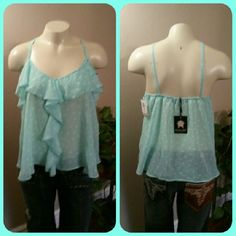 Large Shear Ruffle Tank Cami Top Living Doll Los Angeles, Women's Size Large Mint Green Tank/Cami, Shear Polyester Material, Polka Dot Design, Ruffles. Super Sexy and Feminine.  Brand New w/ Tags, Smoke Free Home Living Doll Los Angeles Tops Tank Tops