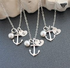 Items similar to Ten Personalized Bridesmaids Gifts, Initial Bridesmaids Necklaces Set of Anchor Necklace, Nautical Wedding Navy Bridal Party Gifts on Etsy Our Wedding Day, Wedding Gifts, Dream Wedding, Anchor Necklace, Initial Necklace, Bachelorette Party Planning, Nautical Bachelorette, Wedding Personal Touches, Nautical Wedding Theme