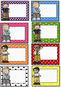 Badges for Kindergarten Children - Preschool Children Akctivitiys Polka Dot Classroom, Classroom Labels, Classroom Rules, Classroom Organization, Pre School, Back To School, Polka Dot Labels, Student Name Tags, Student Folders