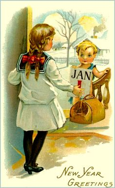vintage happy new year postcard | Free Happy New Year Cards and Short New Years Poems