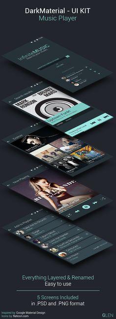 Dark Material Design - Music Player UI on Behance