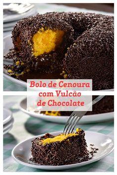 Receita de Bolo de Cenoura com delicioso Vulcão de Chocolate.