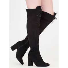 Fierce Chunky Thigh-High Lace-Up Boots ($40) ❤ liked on Polyvore featuring shoes, boots, black, over-the-knee boots, over-the-knee high-heel boots, thigh high lace up boots, over the knee thigh high boots, chunky heel boots and black thigh high boots