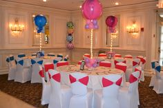 Sweet 16-Candy Land Theme- White chair cover and multi color sashes with a 36 inch super agate balloon with lights as centerpieces.