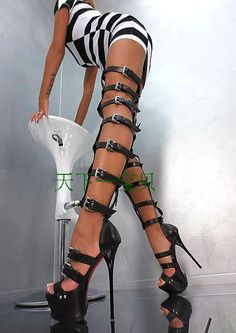 Open Toe over Knee High Gladiator Sandals