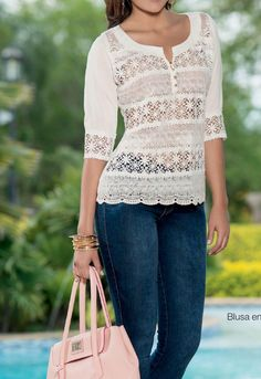 Kurta Neck Design, Diy Fashion, Womens Fashion, Cute Blouses, Cute Tops, Beauty Women, White Jeans, What To Wear, My Style