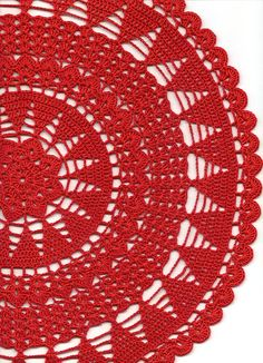 Vintage Handmade Crochet Doily Lace Lacy Doilies Wedding Decoration Home Decor Flower Mandala Dream Catcher Crocheted Pineapple Round Red Modern Style Handmade crocheted doily from high quality 100 % mercerized cotton thread in red color. Doily size: ~16 (41cm) in diameter. Will