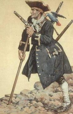 Long John Silver ~ one of literature's most famous pirates.  From the work of Robert Lewis Stevenson.  This artwork by N. C. Wyeth.