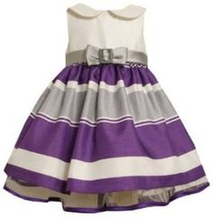 Purple Grey White Striped Buckle Bow Shantung Dress PU1TF,Bonnie Jean Baby Infant Special Occasion Flower Girl Party Dress Clothing