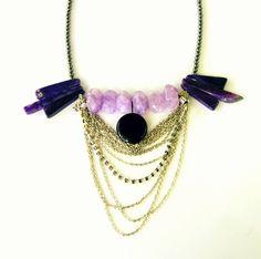 statement necklace, silver chains, onyx, agates, amethyst, hematites