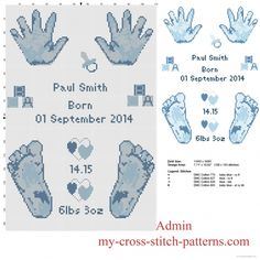 Cross stitch pattern birth record male baby feet and hands prints free download