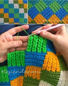 Entrelac braiding point (with braids gorditas!) To crochet / Weaving Peru Crochet Home, Crochet Crafts, Crochet Baby, Crochet Projects, Free Crochet, Knit Crochet, Crochet Stitches Patterns, Crochet Designs, Knitting Patterns