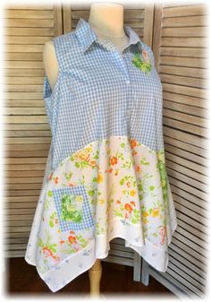 Upcycled Top Tunic Plus Size 3X Shabby Chic Romantic Summer