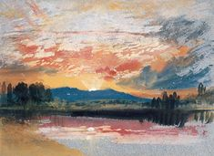 BBC - BBC Arts - Northern light: Turner watercolours in midwinter - Sunset over Petworth Park, Sussex, c.1828, JMW Turner. Photo © National Gallery of Ireland.
