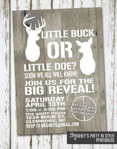 Hunting Theme - Deer Gender Reveal Invitation. $10.00, via Etsy.
