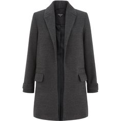 Petite Grey Long Sleeve Coat (€48) ❤ liked on Polyvore featuring outerwear, coats, charcoal, petite, grey coat, gray coat, long sleeve coat and petite coats