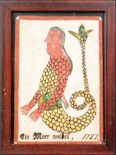 "FRAKTUR BOOKPLATE, Pennsylvania watercolor fraktur bookplate dated 1787 depicting a mermaid, 6 1/2"" x 4 1/2"". Sold at Pook and Pook October ...:"