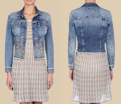 (2) Trussardi Jeans Worn Denim Jacket w Embroidery - Trussardi 2013 Spring Womens Made in Denim Picks - Jeanswear Jackets, Outerwear, Vests & Blouses Tops