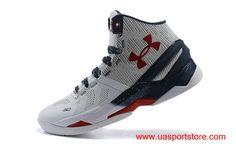 Men's Under Armour UA Curry 2 White Grey Dark-blue Dark-red Basketball Shoes