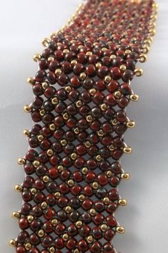 Flat Chenille Beaded Woven Bracelet Opaque Red Picasso Seed Beads by BeBoDesigns on Etsy