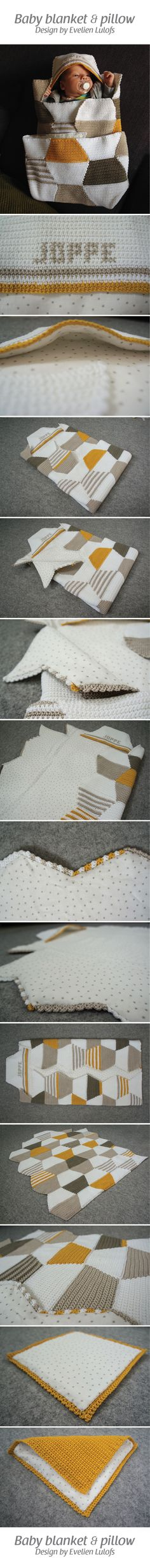 Crochet baby blanket and pillow, design and handmade by Evelien Lulofs