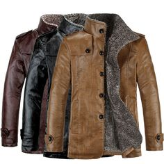 Fashion Men's Warm Winter Jacket Leather Coat Fur Parka Fleece Jacket Slim Coat #Unbrand #BasicCoat