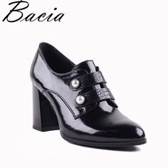 023ab28e21bd Find More Women s Pumps Information about Bacia New High Thick Heels Office  Shoes Cow Leather Female