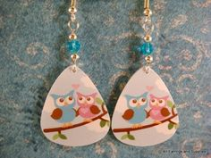 Owl Guitar Pick Earrings - 1 pr | JewelrybyToni - Jewelry on ArtFire