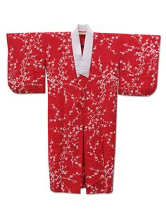 ☆ New Arrival ☆ #Women's #red #vintage #Japanese #kimono with #plum #floral #pattern from #FujiKimono