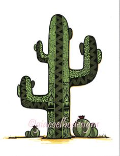 Zentangle Cactus Art Print by Gia Coelho