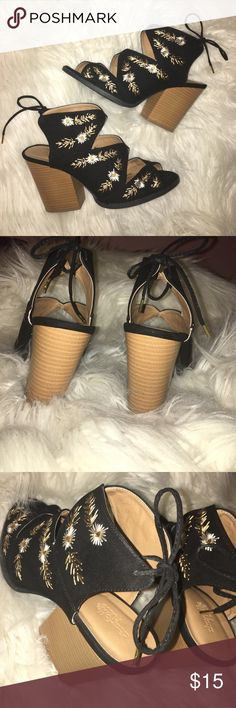 Charlotte Russe Embroidered Heels - 9 Worn Only Once! Excellent Condition. I Bought Them in December 2016 But Didn't Use As Much As Anticipated. Tie Closure on Back, Tan/White Flowers, Stacked Heel .... Super Cute for Summer! 🌼 Charlotte Russe Shoes Heels