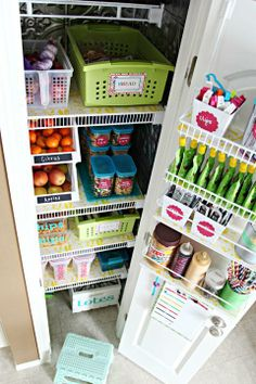 Use foam board (covered in colorful shelf liner!) to create an even shelf surface on old wire shelves. This and more great pantry organizing tips from Jen @Jenn L Milsaps L Jones!