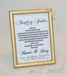 Goldene Hochzeit Geschenk Bilderrahmen You are in the right place about Frame Crafts diy Here we offer you the most beautiful pictures about the Frame Crafts for teachers you are looking for. 50 Wedding Anniversary Gifts, Anniversary Decorations, Golden Anniversary, Wedding Gifts, Frame Crafts, Diy Crafts, Rose Nails, Pin Collection, Picture Frames