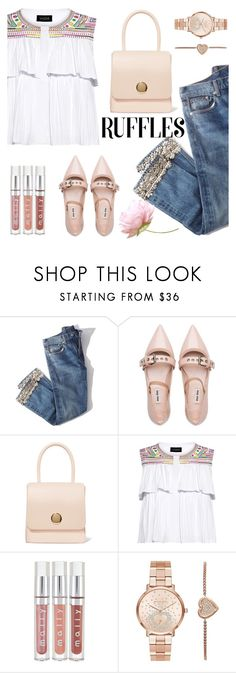 """""""Untitled #740"""" by m-jelic ❤ liked on Polyvore featuring Brock Collection, Miu Miu, Mansur Gavriel, Saloni and Michael Kors"""