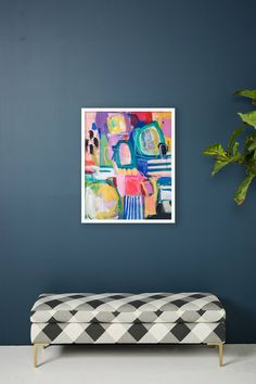 Dancing Wall Art Abstract rainbow multi color painting - art for kids room $298 - affordable art