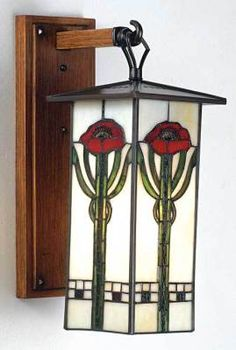 Sunny Day Gallery Art Glass - Arts & Crafts Poppy Lantern/Sconce. Opaque & Coloured Glass with Lead Came and Oak Mounting Plate. Circa Early-21st Century.