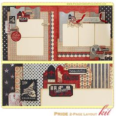 Pride 2-Page Layout Kit, complete with instructions, by PaisleysandPolkaDots.com for a limited time featured at www.scrapclubs.com