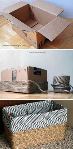 DIY: Recycled organizer box – Step by Step – Step by Step – pasta reciclagem Diys, Diy Crafts Hacks, Diy Home Crafts, Easy Diy Crafts, Diy Craft Projects, Diy Para A Casa, Organizer Box, Diy Crafts Organizer, Diy Storage Boxes