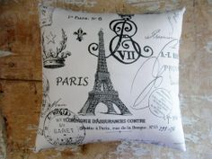 country white decor canada | ... Country Pillow, French Decor, Eiffel Tower, Paris, Cottage Decor